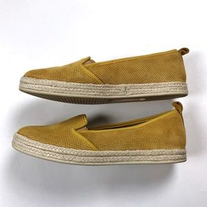 Clarks Azella Theoni yellow suede espadrille flats